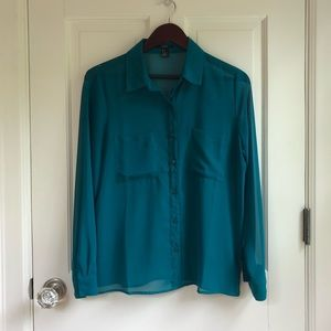 Forever 21 Sheer Teal Button Down